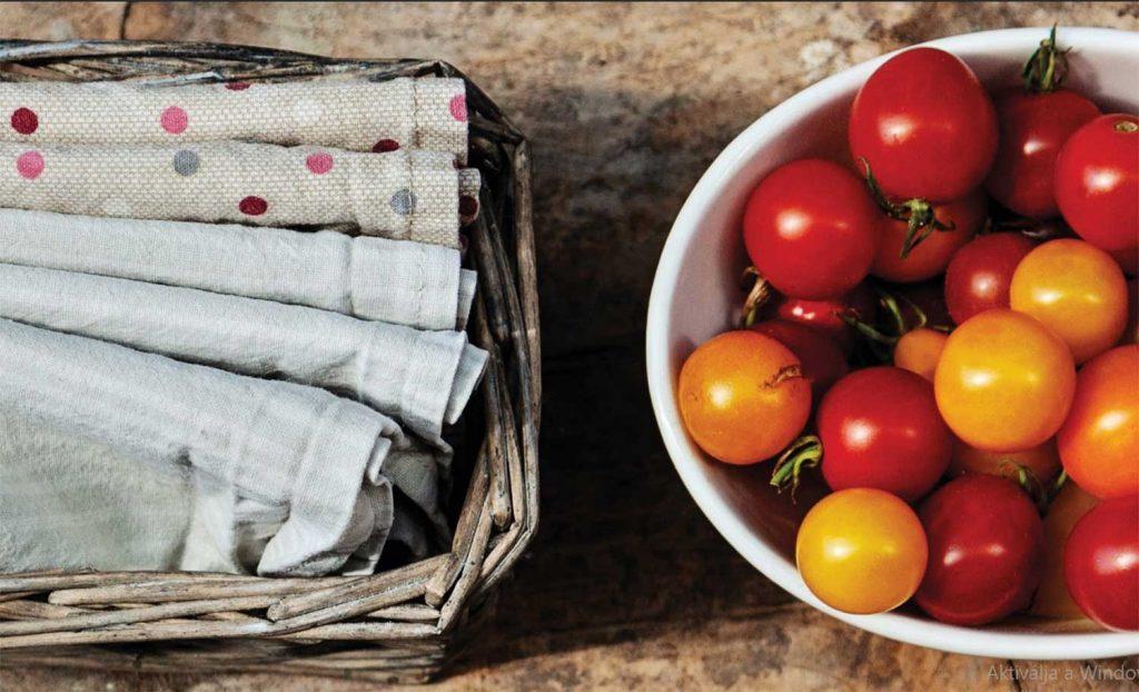 környezetbarát textil szalvéta konyhai hulladékok nélkül